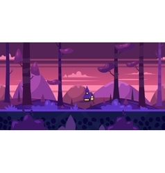 Cartoon nature seamless landscape with night vector