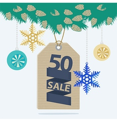 Christmas sale tag or label vector image vector image