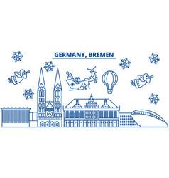 germany bremen winter city skyline merry vector image