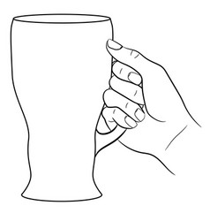 hand holding a glass of beer on white background vector image vector image