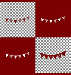 Holiday flags garlands sign bordo and vector