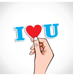 i love you word in hand vector image vector image