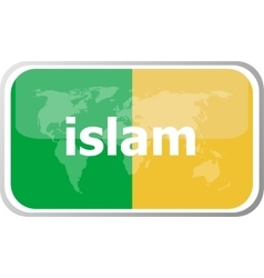 islam Flat web button icon World map earth icon vector image vector image