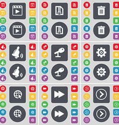 Media player zip file trash can bell microphone vector