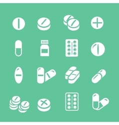 Medical pills white icons set collection vector
