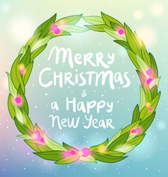 Merry christmas and happy new year wreath greeting vector