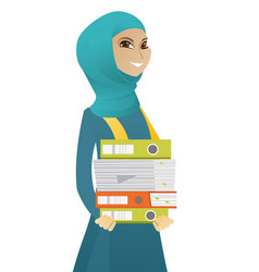 Muslim business woman holding pile of folders vector