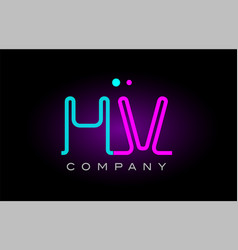 neon lights alphabet hv h v letter logo icon vector image