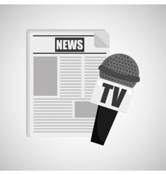 news paper microphone tv icon vector image vector image