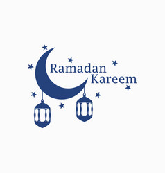 Ramadan kareem lantern and moon muslim holiday vector