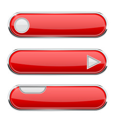 red oval buttons menu interface icon with chrome vector image