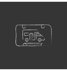 Rv camping sign drawn in chalk icon vector