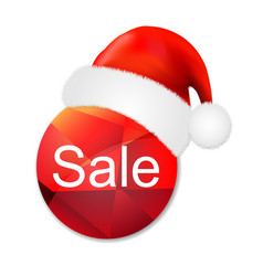 Sale poster with santa claus cap vector