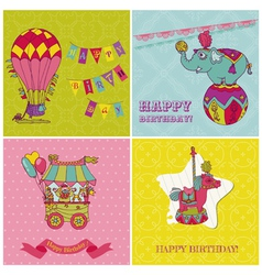 Set of birthday greeting cards for kids vector