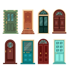 Set of vintage doors in flat style vector