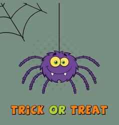 Smiling purple halloween spider character vector
