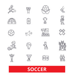 Soccer football game fans goal field play vector