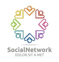 Social network letter v arrow design vector