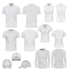 t-shirt cap mockup set realistic style vector image vector image