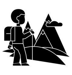 traveller hiking icon sig vector image