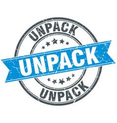 Unpack round grunge ribbon stamp vector