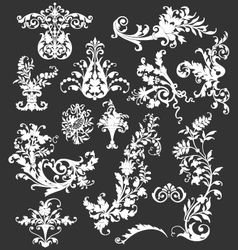 VINTAGE FLORAL DECORATIVE DESIGN ELEMENTS vector image vector image