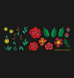 Vintage flower elements for embroidery design vector