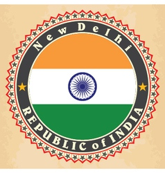 Vintage label cards of india flag vector