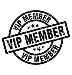 Vip member round grunge black stamp vector