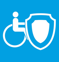 Wheelchair and safety shield icon white vector