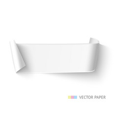 White paper curved ribbon banner with roll vector