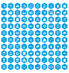 100 online shopping icons set blue vector image