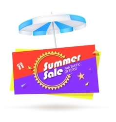Summer sale banner with umbrella vector
