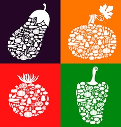 Vegetables on vegetables color vector
