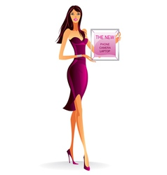 Fashion model with advertising poster vector image
