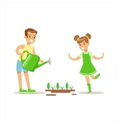 Boy and girl watering plants helping in eco vector