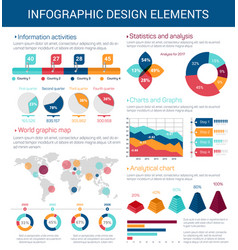 Infographic design elements with map graph chart vector