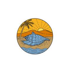 Conch shell on beach mountain sun coconut tree vector