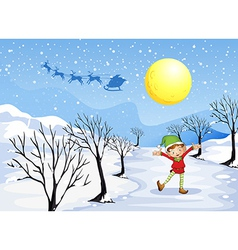 An elf in a snowy place vector
