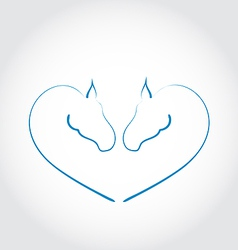 Two horses stylized heart shape vector