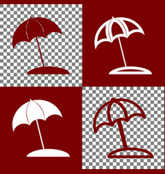 Umbrella and sun lounger sign  bordo and vector