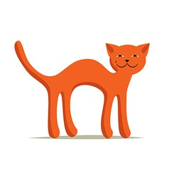 Red comic arched smiling cat on white background vector