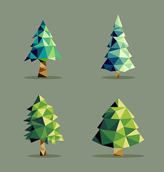 Polygonal abstract pine tree set vector
