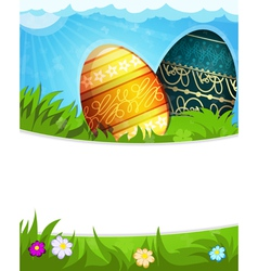 Colorful painted easter eggs in grass vector