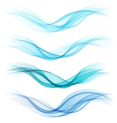 Set of abstract blue waves vector
