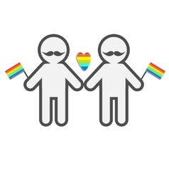 Gay marriage pride symbol two contour man with vector