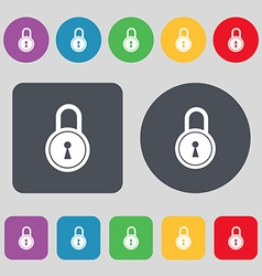 Closed lock icon sign a set of 12 colored buttons vector