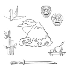 Japan travel elements in sketch style vector image