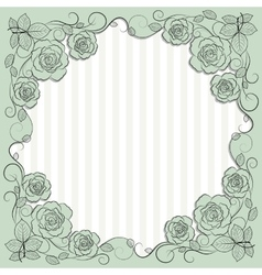 Vintage paper frame with floral pattern for use in vector