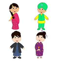 Set of isolated children of indian and japanese vector